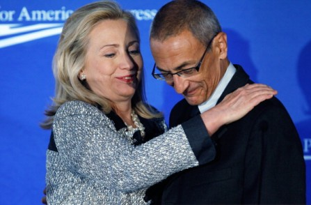 John Podesta Gets a Hug from Hillary at a 2011 CAP forum in Washington, DC