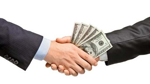 Hand shake with money